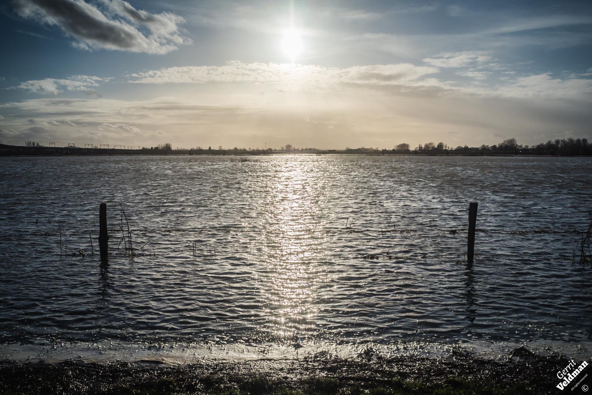 Hoog water op de IJssel bij Zwolle