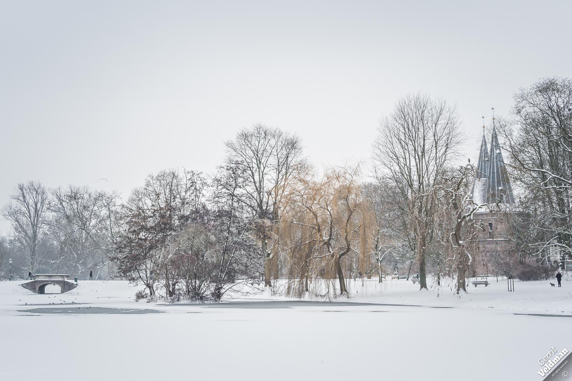 Sneeuw in het Stadspark
