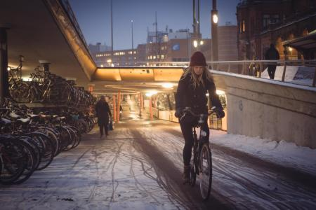 Winterse fietsenstalling